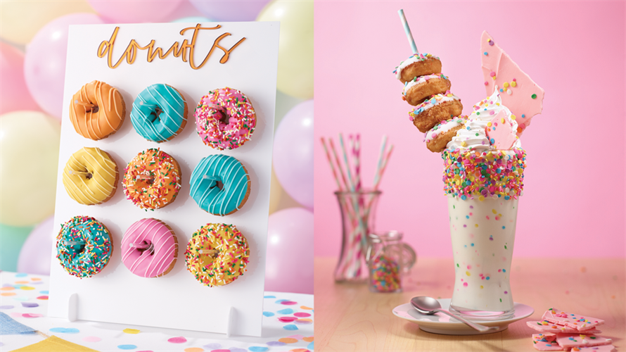 Festive donuts and a milkshake with mini donuts